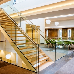 Balustrade glass for mounting on side of a floor or stairs