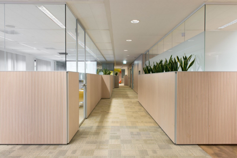 Glass office units with wood paneling ant planters