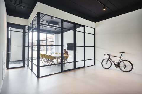 Industrial look glass wall