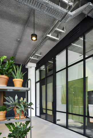 Old fashion industrial look glass office walls with double glass