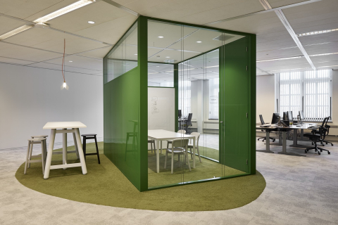 Small conversation room partial made of glass