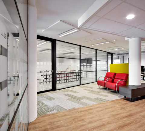 Double glass partition walls at the first floor at town hall Leusden