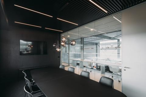 Board room with single glass partition an HPL door