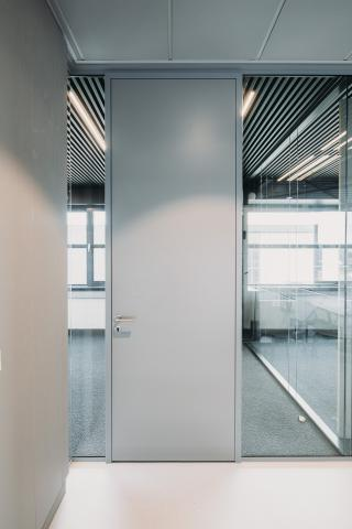 HPL door in aluminum door frame