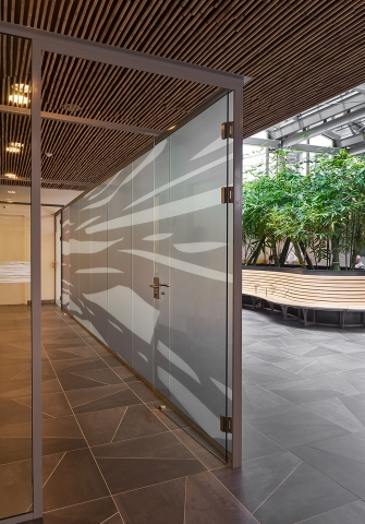 Demountable partitions wall with sandblast privacy film