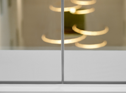 Kit seam join of two fire resistant glass panels.
