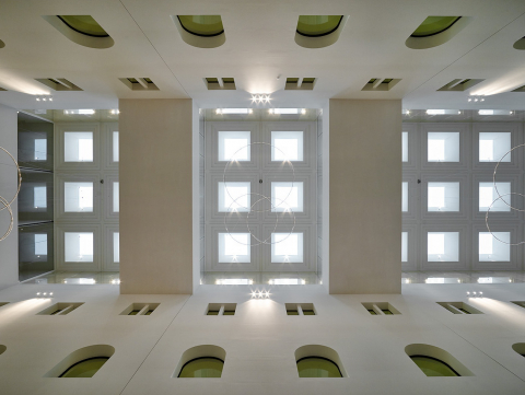 Ceiling of the hallway at B30 building in The Hague, The Netherlands