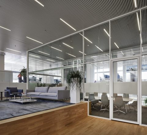 Boardroom with extra high glass walls.