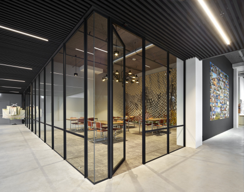 Industrial look & feel glass office wall