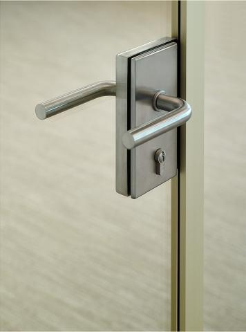 Detail of a glass door lock