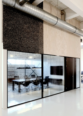 Single glass office wall with vector design foil