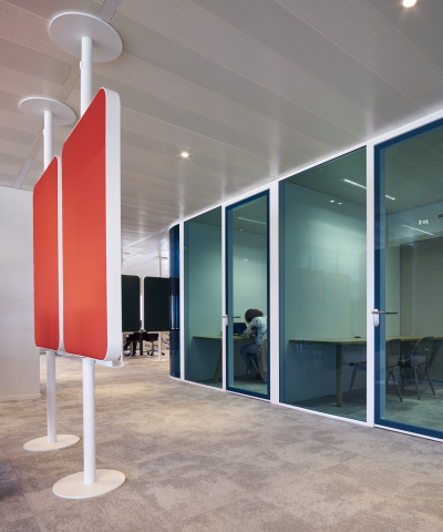 Corridor and office dividing partitions wall with blue glass