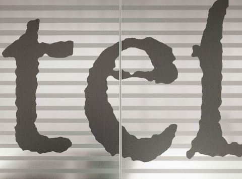 Glass partition wall with text print