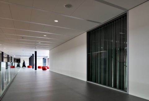 Glass partition in a long closes wall