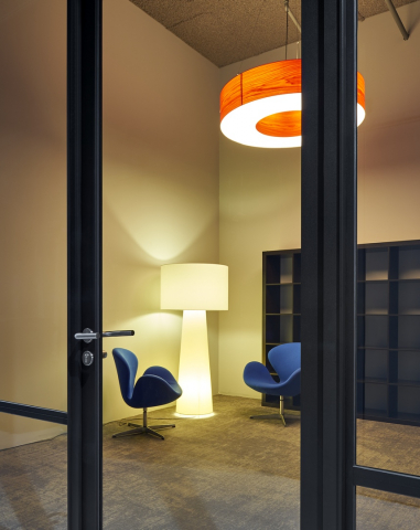 Modern aluminum framed door with acoustic laminated glass