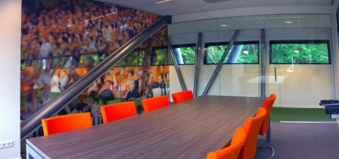 Inside the office with sliding doors