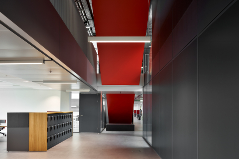 Stairway with extra high glass partition wall at Atlas TU/e in Eindhoven