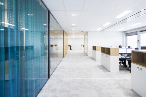 Blue colored singel glass partitions walls
