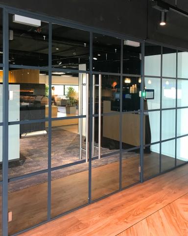 Single glass wall with old fashion industrial look