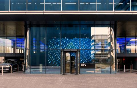 Entrance of The Flow building in Amsterdam Houthavens