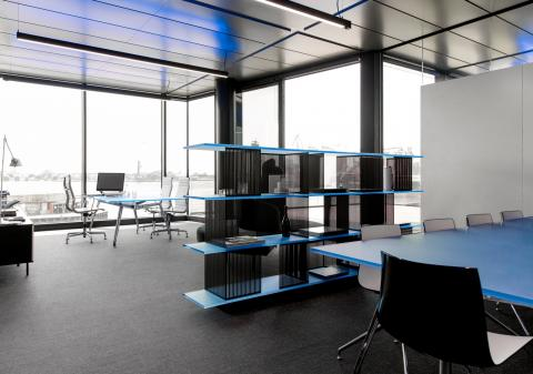 Office dividing glass wall with decorative panels