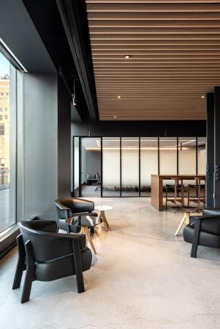 Glass partition with industrial look at Wordwide New York