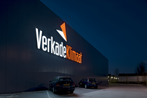 The Verkade klimaat building in Wateringen as sunset