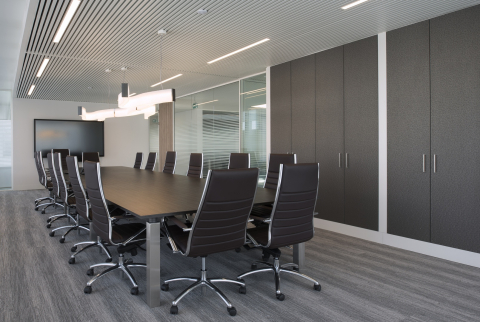 Boardroom with single and double glass walls