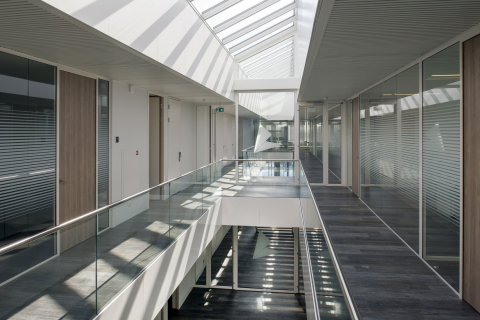 Glass office walls on the first floor